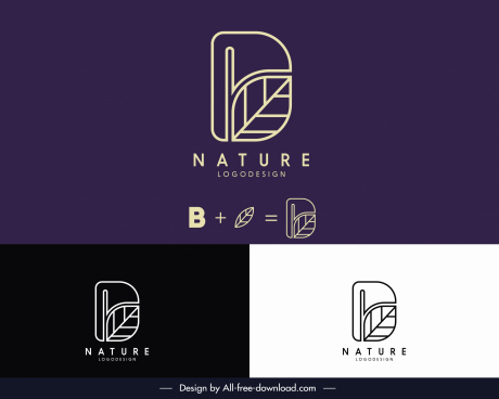 nature logotype flat leaf text sketch combination layout