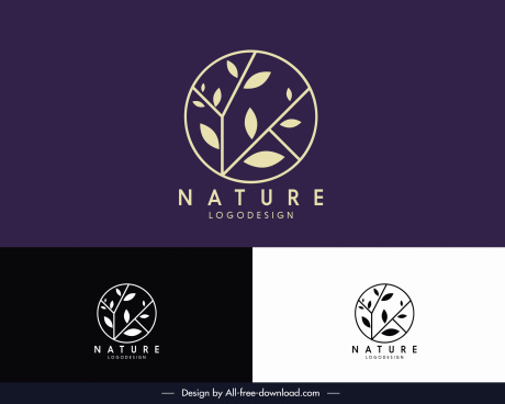 nature logotype flat tree branch sketch circle layout