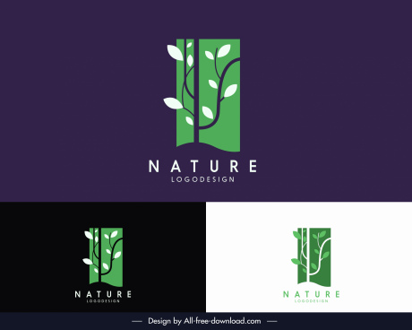 nature logotype leaves tree sketch flat vertical design