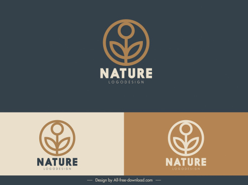 nature logotype template flat classic leaf decor