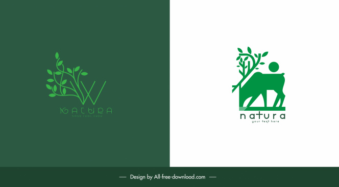 nature logotypes tree cattle sketch flat green design