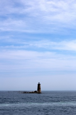 nature ocean water lighthouse sky clouds seascape