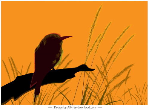 nature painting bird lush sketch cartoon design