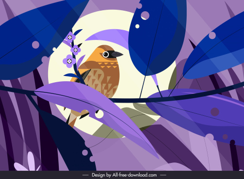 nature painting bird perching sketch colored retro design