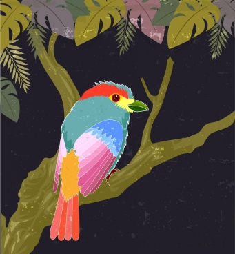 nature painting colorful bird tree icons dark design