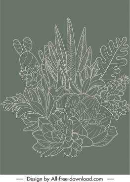 nature painting dark retro handdrawn flowers leaf