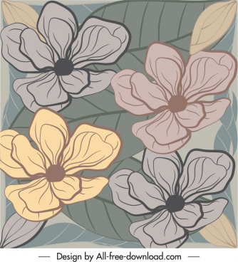 nature painting flat classical handdrawn flowers leaves