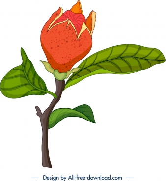 nature painting pomegranate bud leaves icons