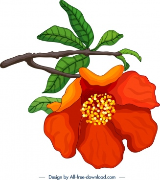 nature painting pomegranate flower branch icon classical design