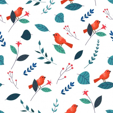 nature pattern birds leaf icons decor repeating design
