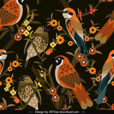 nature pattern birds species flowers decor dark retro