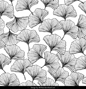 nature pattern botany icons black white handdrawn sketch