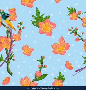nature pattern cherry blossom bird icons colorful design