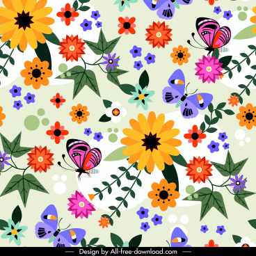 nature pattern colorful flowers butterflies decor flat design