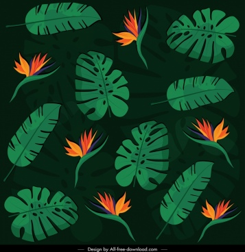 nature pattern dark colored flora leaf decor