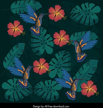 nature pattern dark colorful birds flora leaf decor