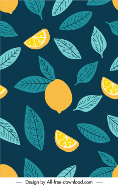 nature pattern dark retro handdrawn lemon leaf decor