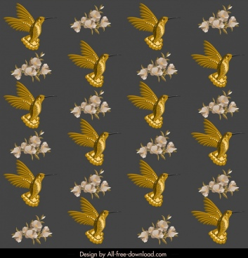 nature pattern elegant golden woodpecker floral decor