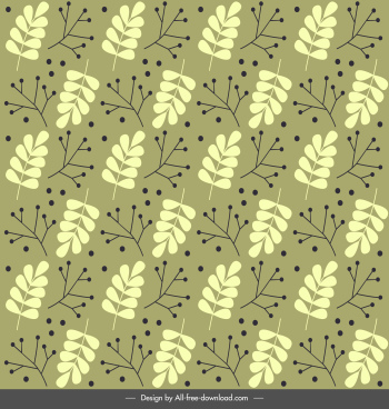 nature pattern flat classical repeating leaf sketch