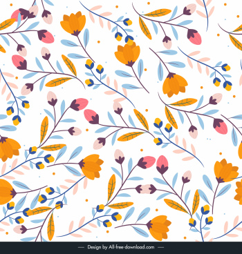 nature pattern flat colorful classical petals leaves decor