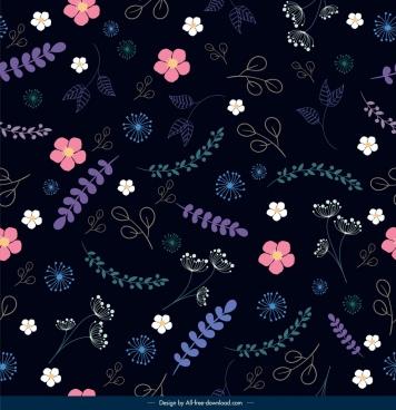 nature pattern flower leaf decor dark colorful design