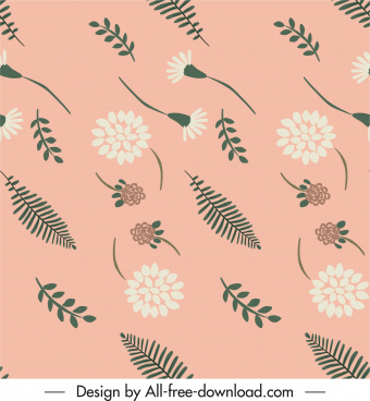 nature pattern flowers leaf sketch classical flat design