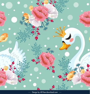 nature pattern flowers swan icons decor repeating design