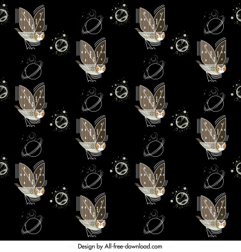 nature pattern flying owl planet decor repeating dark