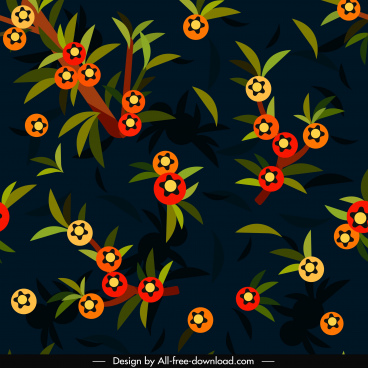 nature pattern fruits leaves decor colorful dark classic