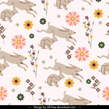 nature pattern rabbits flowers sketch colorful motion design