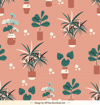 nature pattern repeating houseplants sketch retro flat