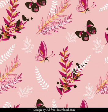 nature pattern template butterflies leaf branch sketch