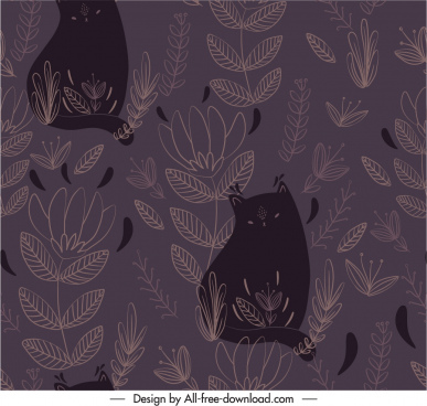 nature pattern template cats leaf sketch dark retro