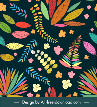 nature pattern template classic colorful petals leaves sketch