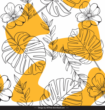 nature pattern template classical handdrawn leaves floras