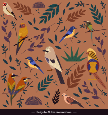 nature pattern template colorful birds species leaf decor