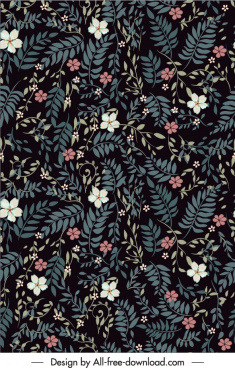 nature pattern template dark classic leaves petals decor