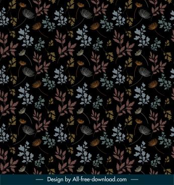nature pattern template dark elegance flowers leaf sketch
