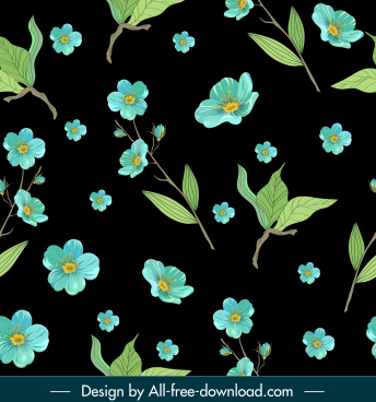 nature pattern template dark elegant leaf petals sketch