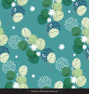 nature pattern template flat classic leaves petals decor