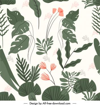 nature pattern template flowers leaves sketch handdrawn vintage