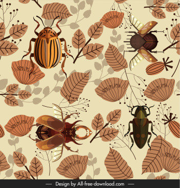 nature pattern template insect leaf decor messy design