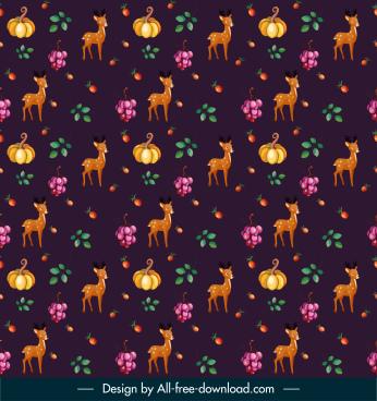 nature pattern template repeating pumpkin deer grapes sketch