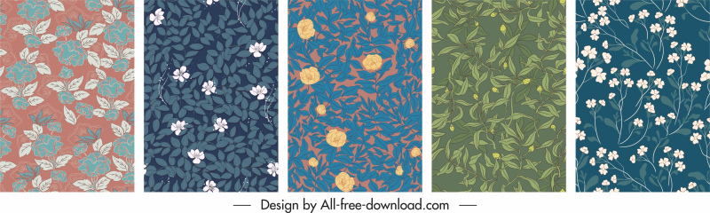 nature pattern templates flat retro handdrawn design