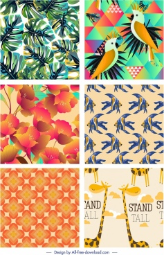 nature pattern templates leaf flower parrot fish giraffe decor