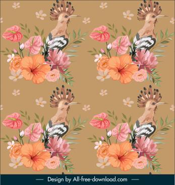 nature pattern woodpecker flora decor repeating elegance
