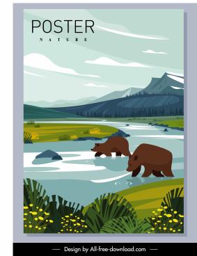 nature poster bears hunting river sketch cartoon design