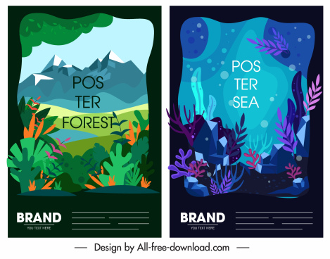 nature poster forest marine scenes sketch colorful design