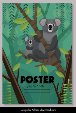 nature poster koala species sketch colorful classic design