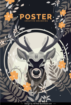 nature poster reindeer head flowers leaves sketch